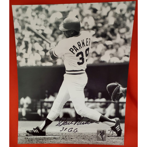 Photo of Dave Parker Black and White Autographed Photo with Inscription '3xGG'