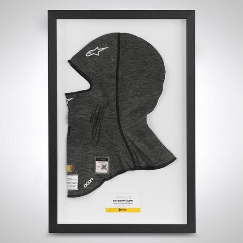 Photo of Esteban Ocon 2020 Framed Signed Race-worn Race Balaclava - Russian GP