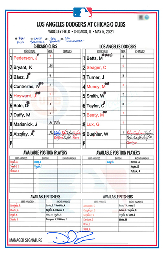 Photo of Game-Used Lineup Card -- Alzolay 5 IP, 2 ER, 7 K, Marisnick 4th HR, Cubs Sweep Dodgers -- Dodgers vs. Cubs -- 5/5/21
