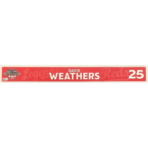 Photo of David Weathers - Locker Name Plate: 2021 Cincinnati Reds Hall of Fame Legends Game