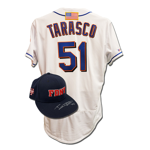 Photo of Tony Tarasco #51 - Autographed Game Used First Responder Hat and Game Used White Commemorative Jersey with American Flag Patch - Mets vs. Yankees - 9/11/2021