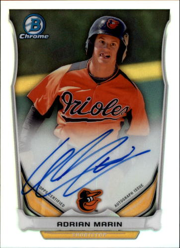 Photo of 2014 Bowman Chrome Prospect Autographs Refractors #BCAPAMA Adrian Marin