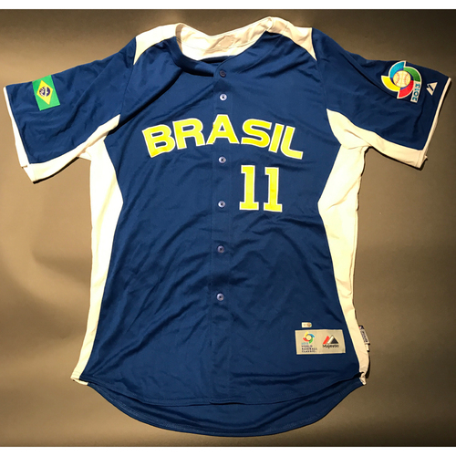 Photo of 2013 World Baseball Classic Jersey - Brazil Road Jersey, Barry Larkin #11