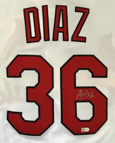 Photo of Aledmys Diaz Autographed White Cardinals Jersey