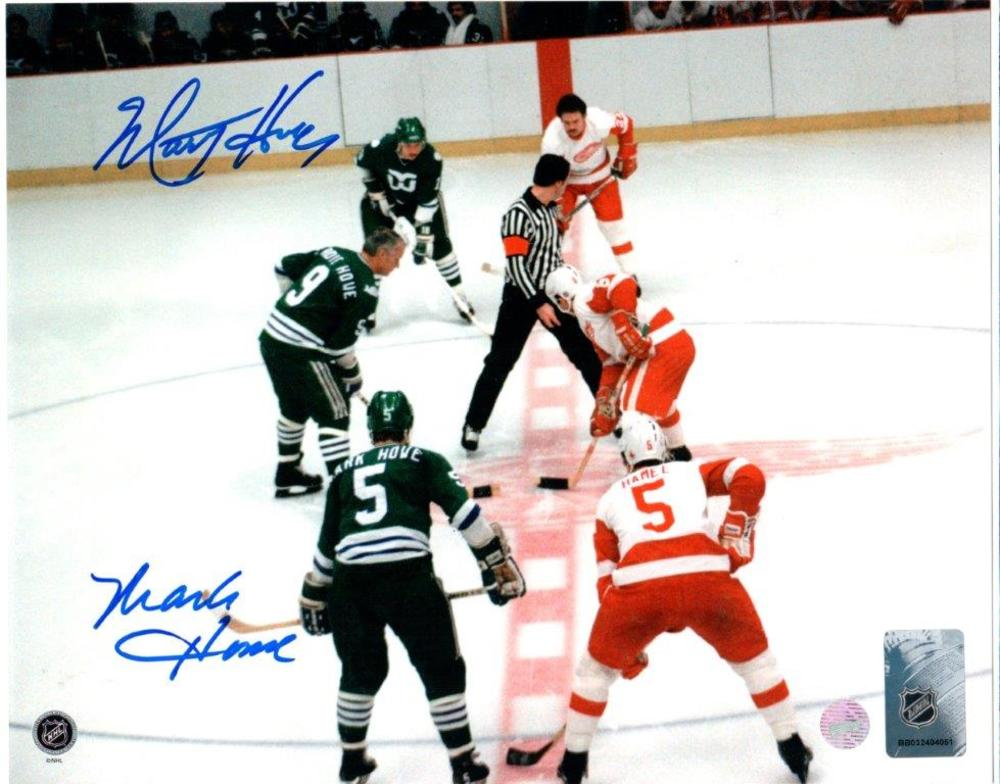 Mark & Marty Howe Dual-Signed 8x10 Unframed Hartford Whalers Green-H Face-off vs Detroit Red Wings
