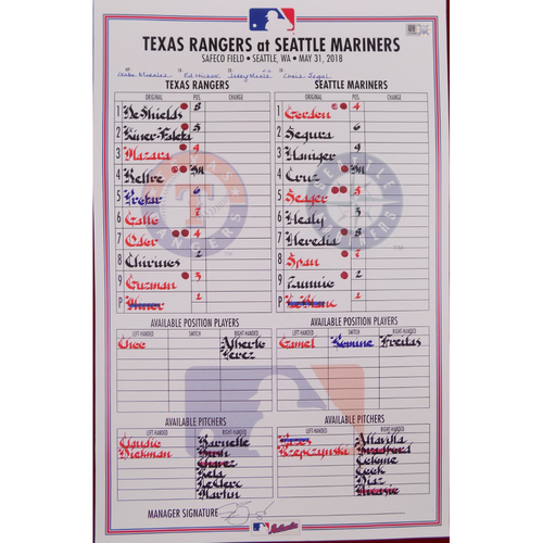 Rangers at Mariners - 5/31/18 - Game-Used Lineup Card