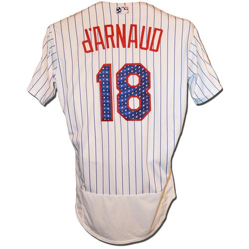 78119b5dd Travis d Arnaud  18 - Game Used White Pinstripe 4th of July Jersey -