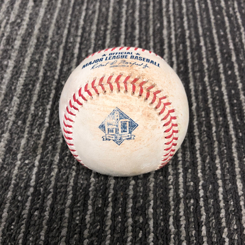 Photo of 2018 Game Used Baseball vs. Los Angeles Dodgers on 9/30 - T-5: Chris Stratton to Yasiel Puig - Foul Ball. Prev. Kike Hernandez Triples to RF