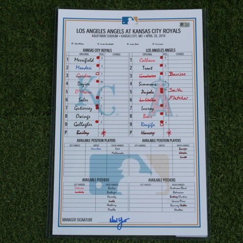 Photo of Game-Used Line-Up Card: Albert Pujols 1,997th RBI - Surpasses Barry Bonds for 3rd Place All-Time (LAA @ KC - 4/28/19)
