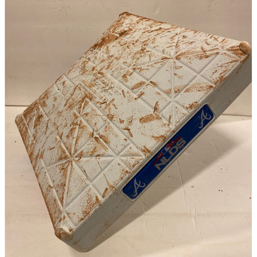 Photo of 2018 NLDS Game Used Base - Third Base Used During 2nd Inning - 10/7/18 - Ronald Acuna Jr. Grand Slam
