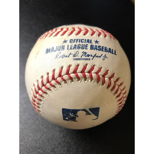 Photo of Game-Used Baseball - 2020 NLCS - Atlanta Braves vs. Los Angeles Dodgers - Game 7 - Pitcher: Dustin May, Batters: Freddie Freeman (Walk), Marcell Ozuna (RBI Single) - Top 1