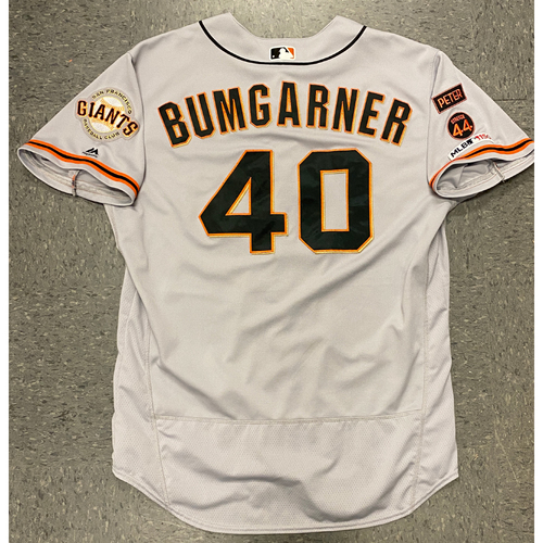 Photo of 2019 Game Used Road Gray Jersey worn by #40 Madison Bumgarner on 9/4 @ STL -5.0 IP, 2 K's - Size 50