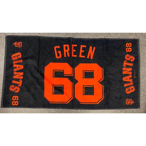 "Photo of 2020 Team Issued Player Towel - #68 Zach Green - Towel Measurements - 40""x20"""
