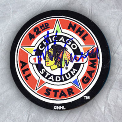 MIKE VERNON 1991 All Star Game Autographed Hockey Puck
