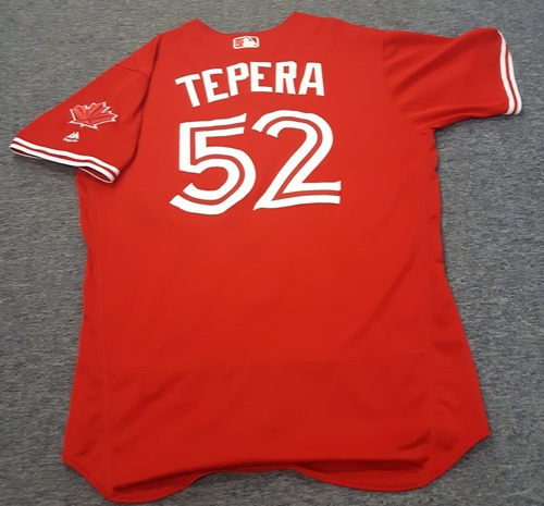 Authenticated Game Used Jersey - #52 Ryan Tepera (April 16, 2017: 0.1 IP with 4 ER. July 1, 2017). Size 46.