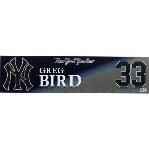 Photo of Greg Bird New York Yankees 2017 Game-Used #33 Locker Room Nameplate (9/30/2017)