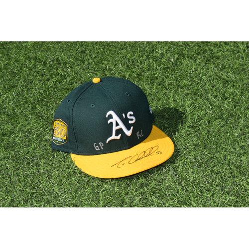 Photo of Oakland Athletics Game Used Autographed Trevor Cahill 50th Anniversary Cap