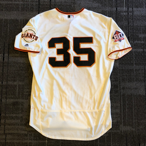 Photo of San Francisco Giants - 2018 Game Used Home Crème Jersey - Brandon Crawford - Home Run & Walk Off RBI Single - Size 48