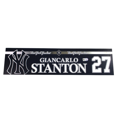 Photo of Giancarlo Stanton New York Yankees 2018 Game Used #27 Locker Room Nameplate (6/21/2018)