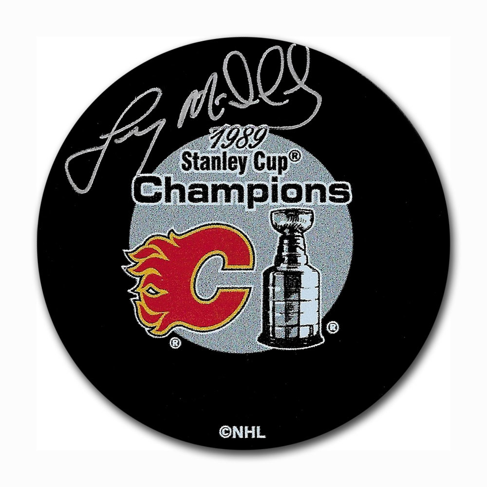 Lanny McDonald Autographed Calgary Flames 1989 Stanley Cup Champions Puck
