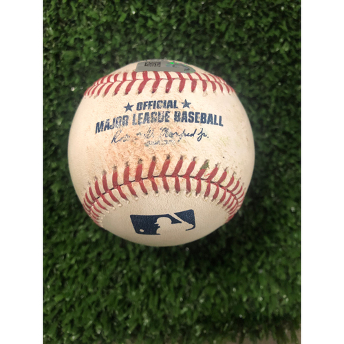 Photo of Bryce Harper Game Used Hit Single Ball - June 16, 2019