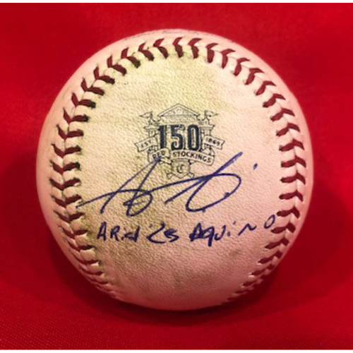 Photo of Aristides Aquino -- Autographed -- Game-Used Ball from Aquino 3-Homer Game (Barnhart RBI-Single) -- Aquino Ties MLB Record with 7 Homers in First 10 Career Games on 8/10/19