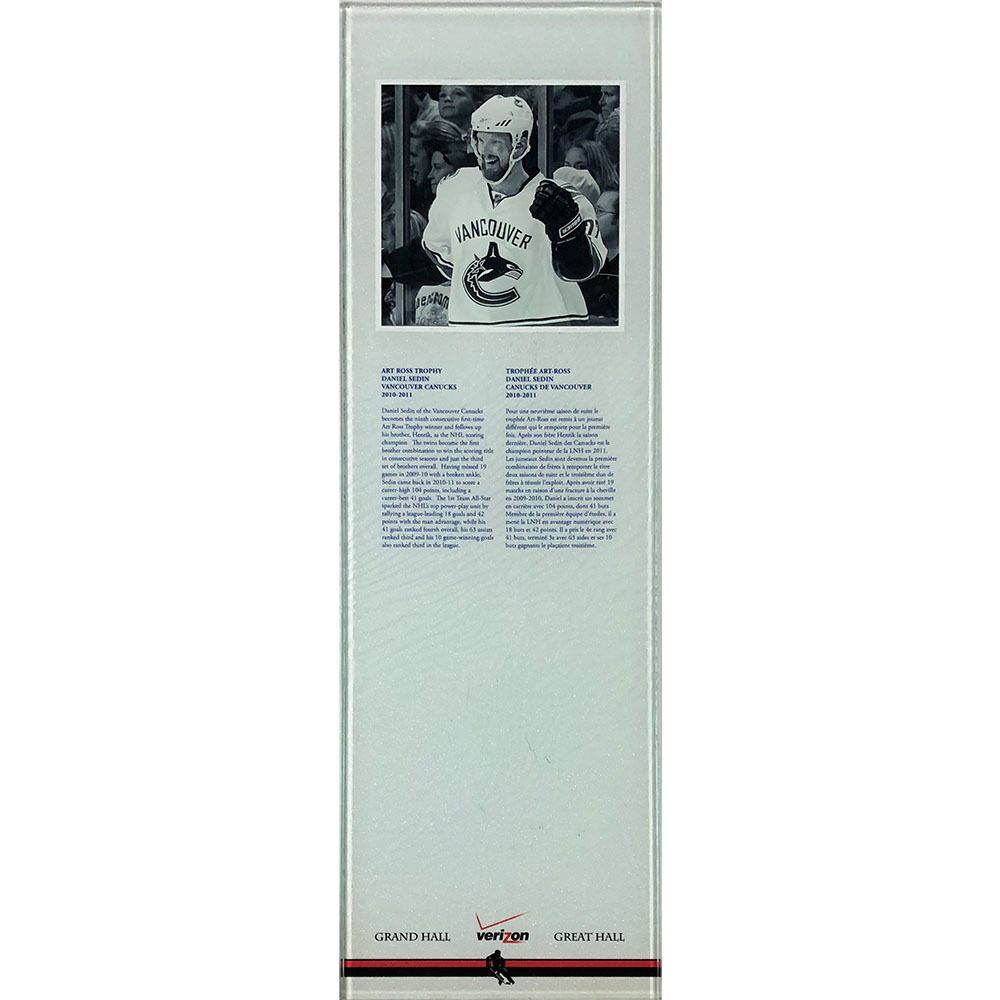 Daniel Sedin 2010-11 Art Ross Trophy Plexiglass Plaque - Once on Display in the HOF's Great Hall