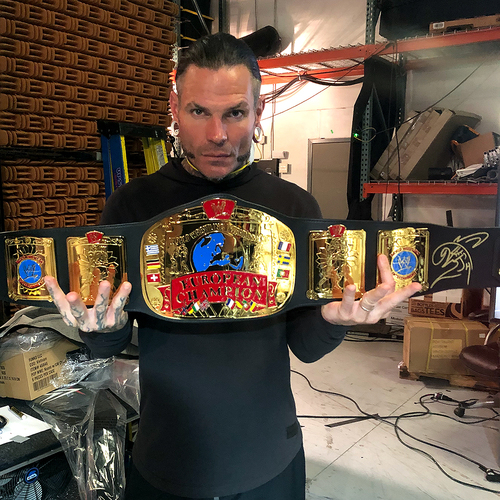 Photo of Jeff Hardy SIGNED WWE European Championship Replica Title
