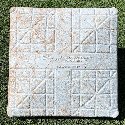 Photo of Game Used Jackie Robinson Day Base - 1st Base, Innings 4-6 - deGrom Double, Lindor, Nimmo, Conforto and McNeil Singles - Mets vs. Nationals - 4/23/21