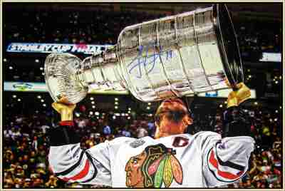 Jonathan Toews Signed Framed Canvas Kissing the 2013 Stanley Cup