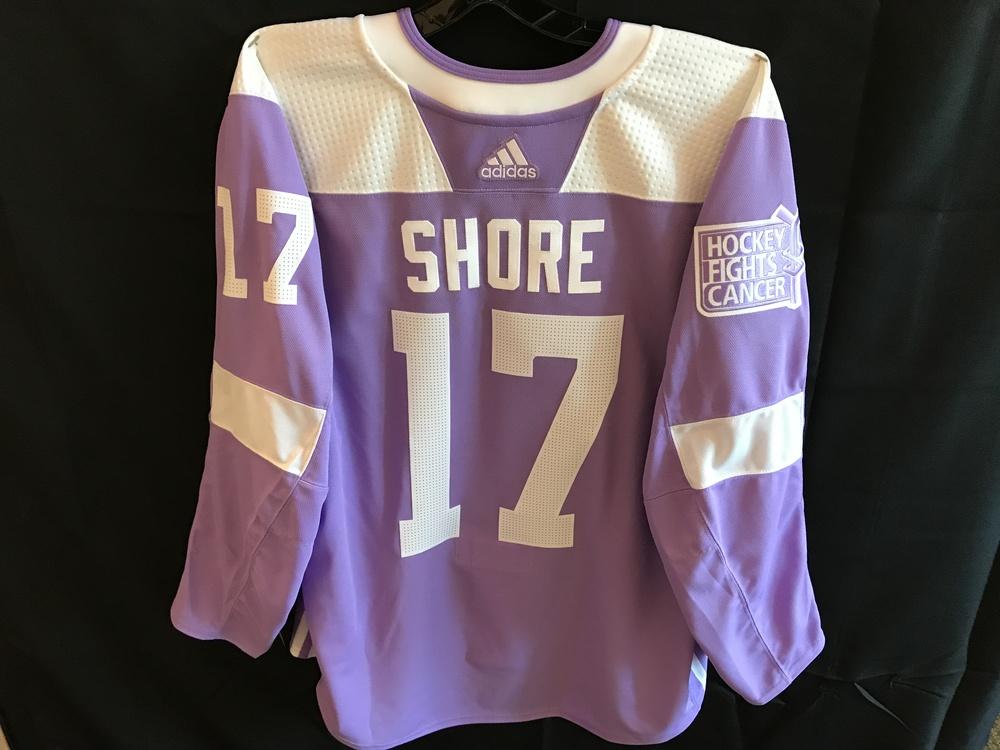 Devin Shore Warm-Up Worn Hockey Fights Cancer Jersey