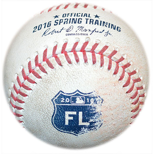 Photo of Game Used Baseball - 2016 Spring Training - Mets vs. Nationals - 3/30/16