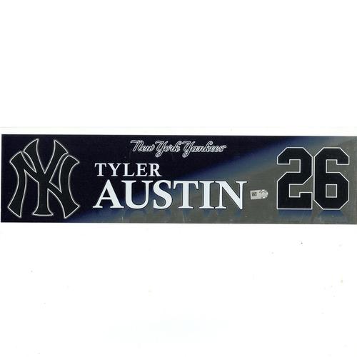 Photo of Tyler Austin New York Yankees 2017 Game-Used #26 Locker Room Nameplate (10/1/2017)