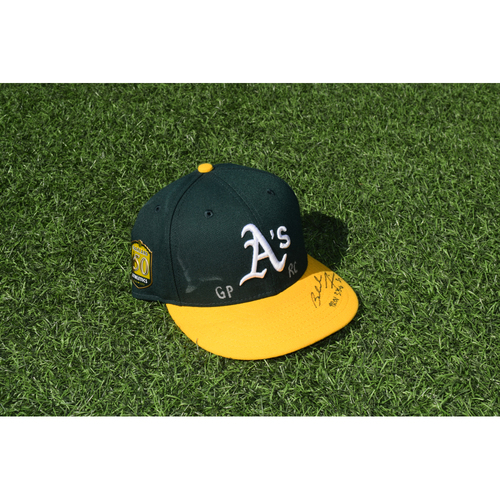 Photo of Oakland Athletics Game Used Autographed Blake Treinen 50th Anniversary Cap
