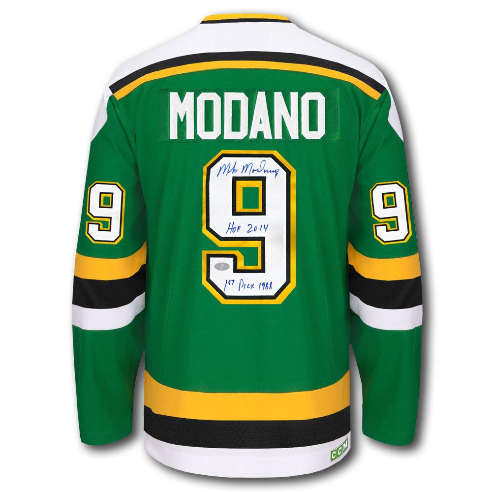 Mike Modano Minnesota North Stars STATS CCM Autographed Jersey - NHL ... 173f75af044