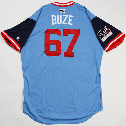 "Photo of Alan ""Buze"" Busenitz Minnesota Twins Game-Used Jersey 2018 Players' Weekend Jersey"
