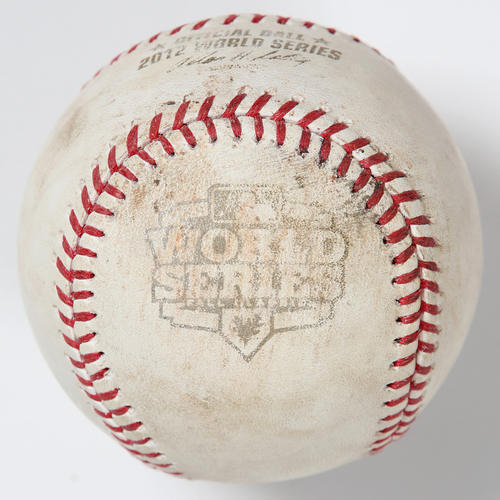 Photo of Game-Used Baseball: 2012 World Series Game 3 - San Francisco Giants at Detroit Tigers - Batter: Hunter Pence, Pitcher: Anibal Sanchez - Top of 6, Foul Back to Screen
