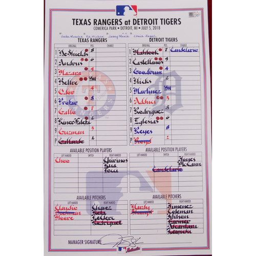 Rangers at Tigers - 7/5/18 - Game-Used Lineup Card