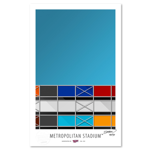 Photo of Metropolitan Stadium - Collector's Edition Minimalist Art Print by S. Preston #119/350  - Minnesota Twins