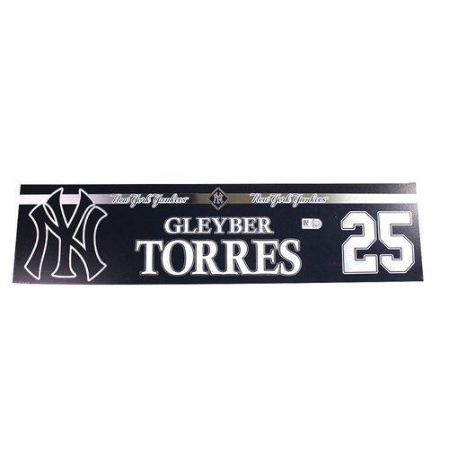 Photo of Gleyber Torres New York Yankees 2018 Game Used #25 Locker Room Nameplate (6/21/2018)