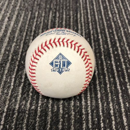 Photo of 2018 Game Used Baseball vs. Los Angeles Dodgers on 9/28 - T-9: Hunter Strickland to Yasmani Grandal - Double to RF