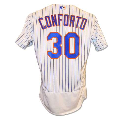 Photo of Michael Conforto #30 - Game Used White Pinstripe Jersey - 3-3, RBI and 3 Runs Scored - Mets vs. Marlins - 5/10/19