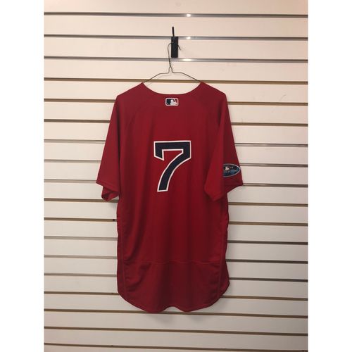 Photo of Christian Vazquez Game Used September 28, 2018 Home Alternate Jersey