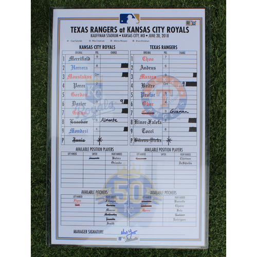 Photo of Game-Used Line-Up Card: Mike Moustakas 14th Home Run of 2018 (TEX @ KC - 6/20/18)