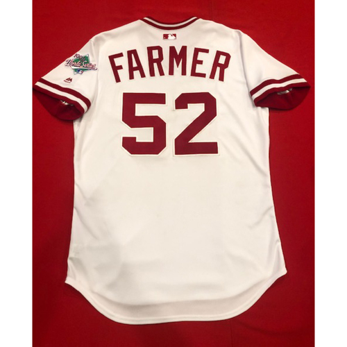 Photo of Kyle Farmer -- Game-Used 1990 Throwback Jersey & Pants (Starting C: Went 2-for-4, R) -- Cardinals vs. Reds on Aug. 18, 2019 -- Jersey Size 44 / Pants Size: 36-40-15
