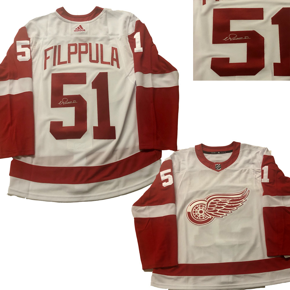 VALTERRI FILPPULA Signed Detroit Red Wings White Adidas Jersey