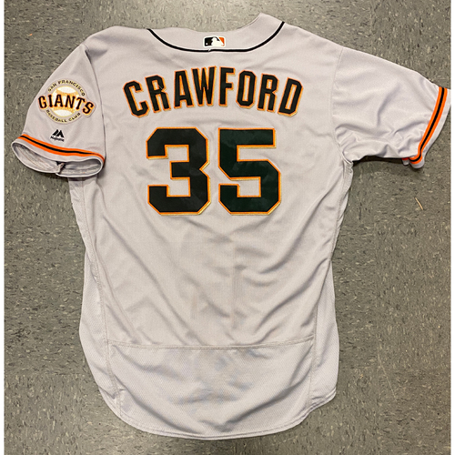 Photo of 2017 Game Used Road Gray Jersey worn by #35 Brandon Crawford on 8/28 @ SD - 2-4, HR, RBI, 2 R - Size 48