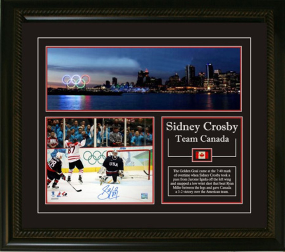 Sidney Crosby - Signed & Framed 8x10 Etched Mat - Team Canada 2010 Skyline Panoramic