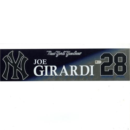 Photo of Joe Girardi New York Yankees 2017 Game-Used #28 Locker Room Nameplate (10/1/2017)