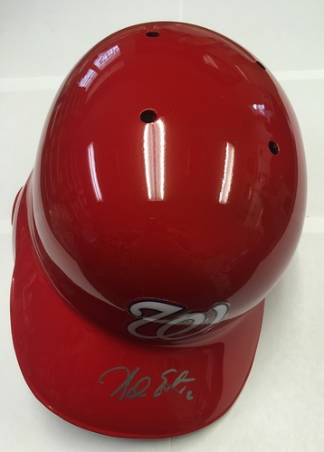 Photo of Adam Eaton Autographed Nationals Batting Helmet - Slightly Smudged